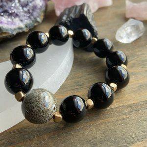 Big black onyx round bubble beads bracelet